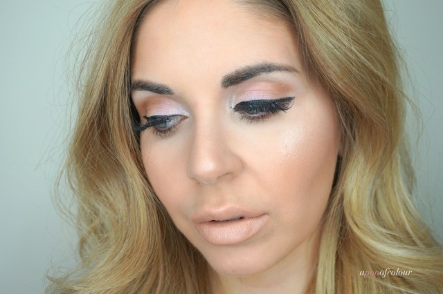 Makeup look using the Too Faced Cosmetics Glitter Bomb palette