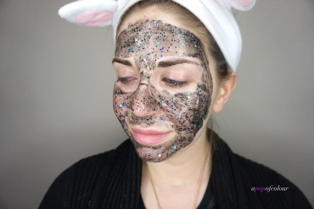Glam Glow Glitter Mask applied