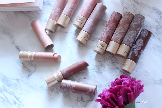 Too Faced Cosmetics Natural Nudes Coconut Butter lipsticks