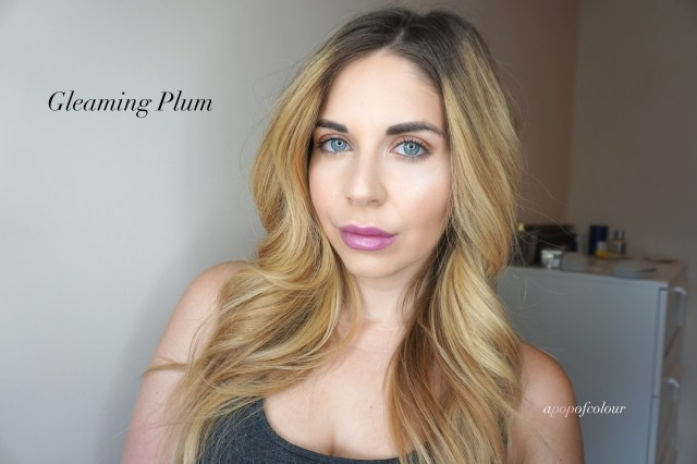 L'Oreal Paris Colour Riche Shine lipstick in Gleaming Plum swatched