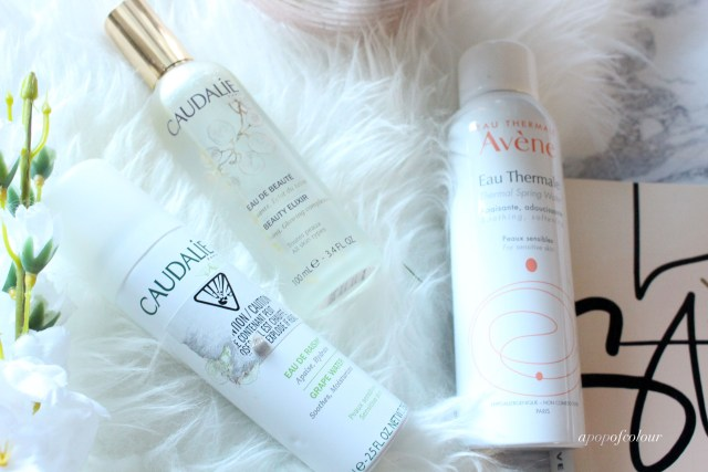 Caudalie facial sprays and Avene facial spray