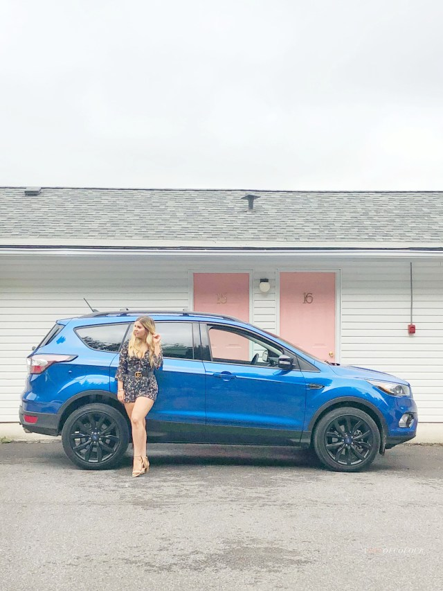 2018 Ford Escape in front of The June Motel in Prince Edward County.