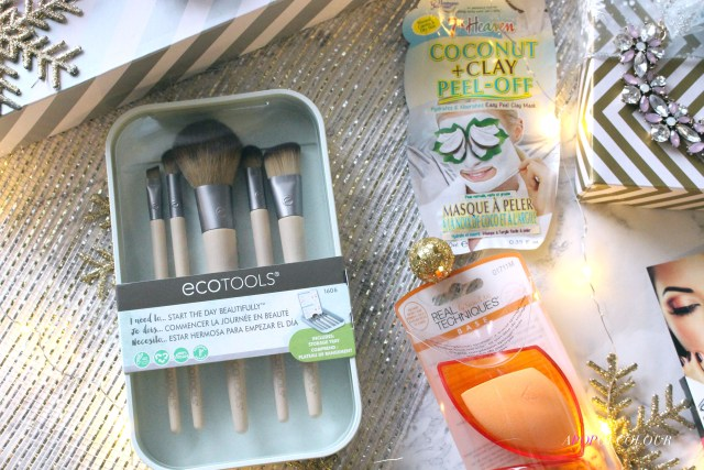 EcoTools Start the Day Beautiful, Real Techniques Sponge and Holder, 7th Heaven Coconut + Clay Peel Off mask