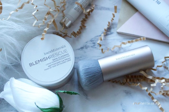Bare Minerals Blemish Rescue powder foundation and charcoal buffing brush