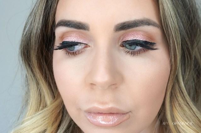 Stila Glitter & Glow Liquid Eyeshadow pink swatched