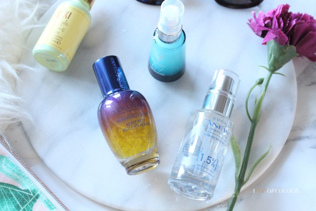 Serums by Avon, L/Occitane, Pixi Beauty, and Vichy