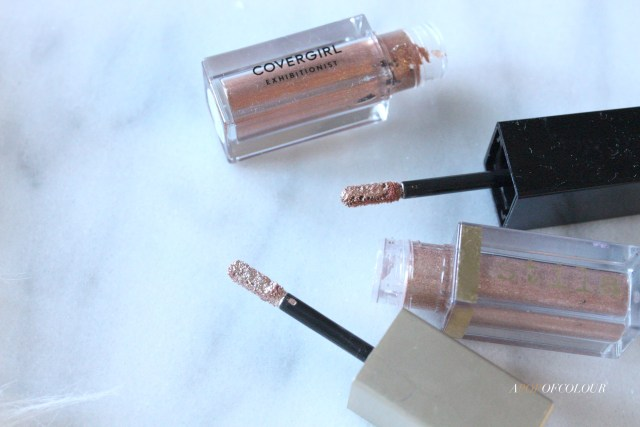 CoverGirl Exhibitionist Liquid Glitter Eyeshadow compared to Stila Glitter & Glow Eyeshadow