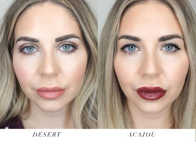 Armani Beauty Lip Maestro swatches in Desert and Acajou