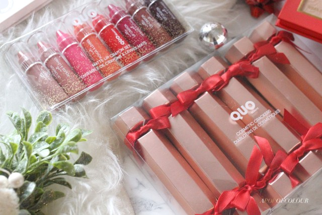Quo Matte Lip Crayon Set and Cosmetic Crackers in Rose Set