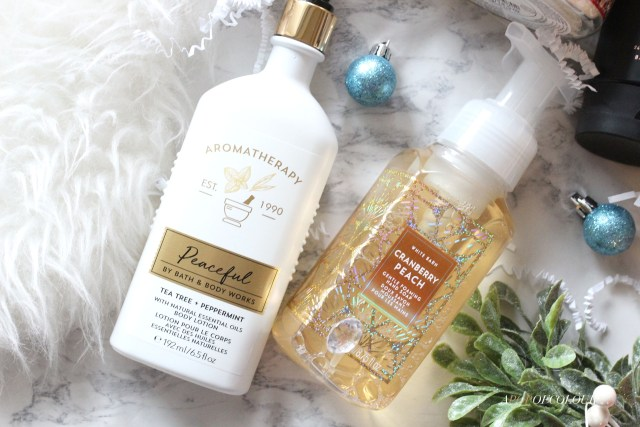 Cranberry Peach foaming hand soap and Peaceful lotion from Bath & Body Works