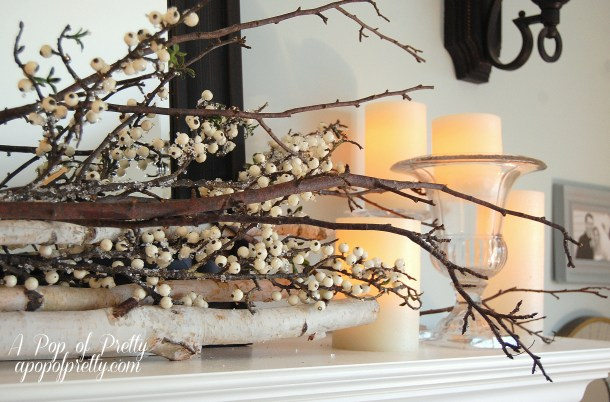 Fall winter mantel decor
