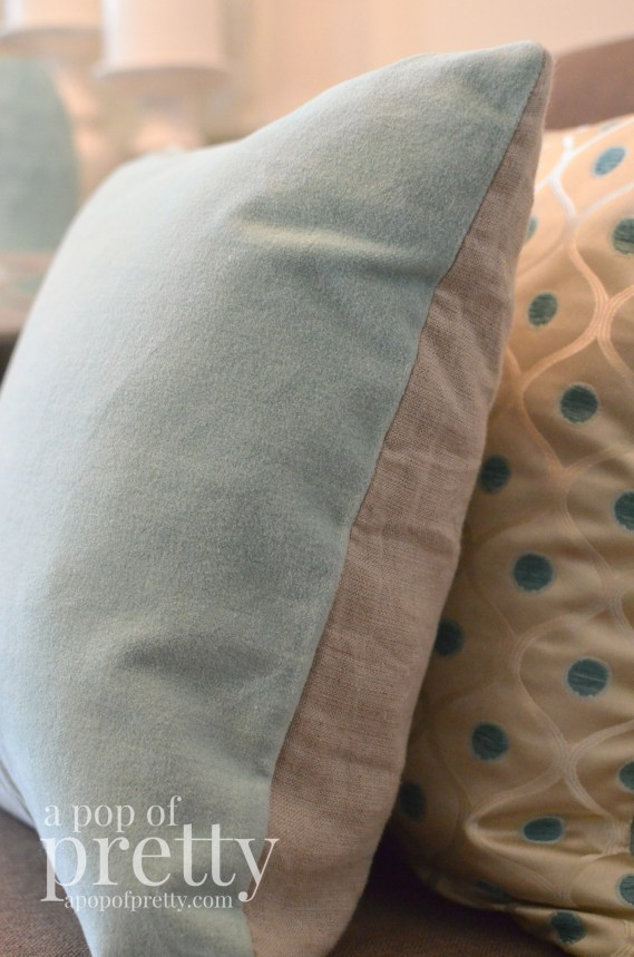 Canadian Bloggers Home Tour - soft blue velvet pillow