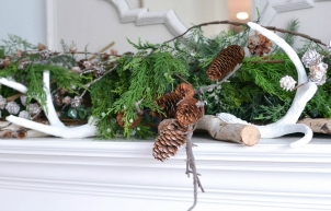 Winter Mantel with Greenery