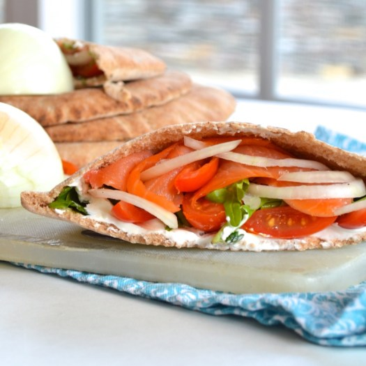 Smoked Salmon Pita Sandwiches! A quick, healthy, and delicious lunch!!