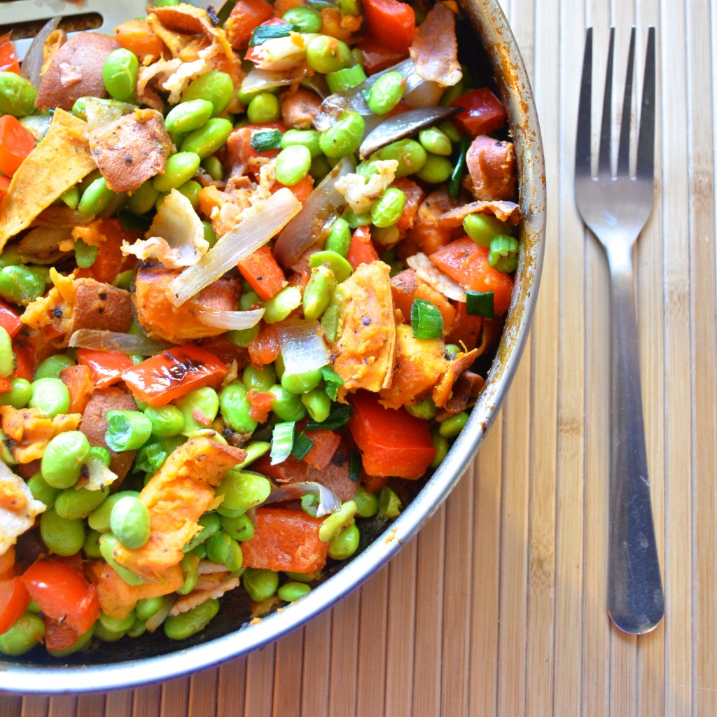 Healthy Edamame Sweet Potato Hash. Packed with 22g protein and 9g fiber. Delicious!