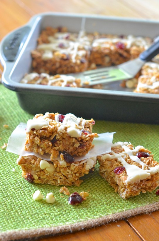 No-Bake White Chocolate Cranberry Protein Bars. Taste like a candy bar!