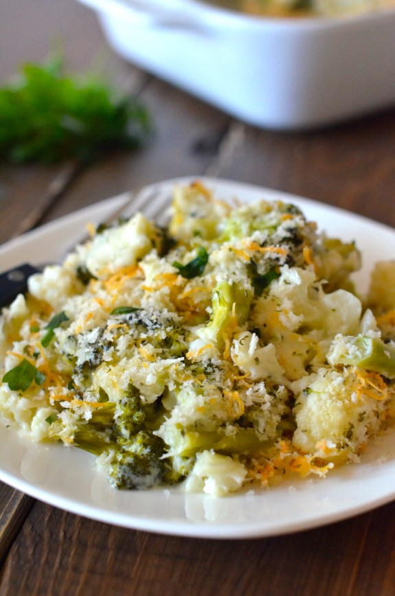 The BEST way to make veggies. So cheesy and creamy, but it's healthy! My new favorite veggie dish!