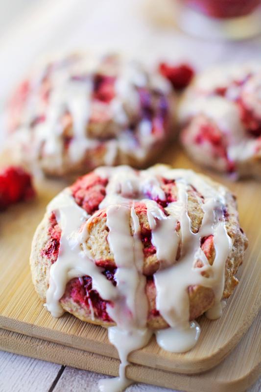 Skinny Vanilla Glazed Raspberry Swirl Scones