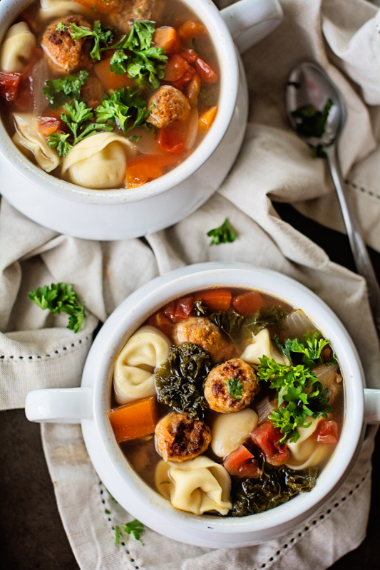 Italian Turkey Meatball Tortellini Soup - Apple of My Eye