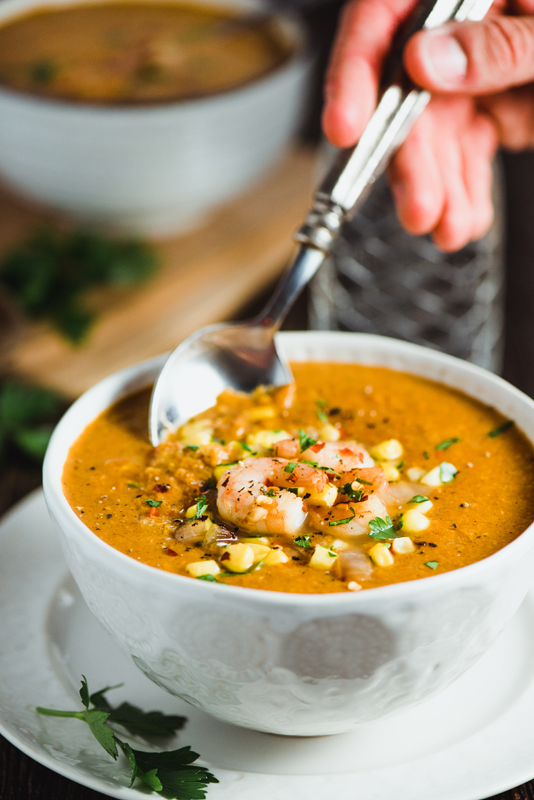 Smoked Paprika Shrimp and Corn Chowder easy, delicious, and healthy with only 215 calories a serving!