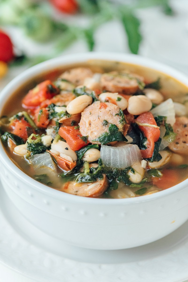 Sausage and White Bean Soup- done in 30 minutes, healthy, and delicious!