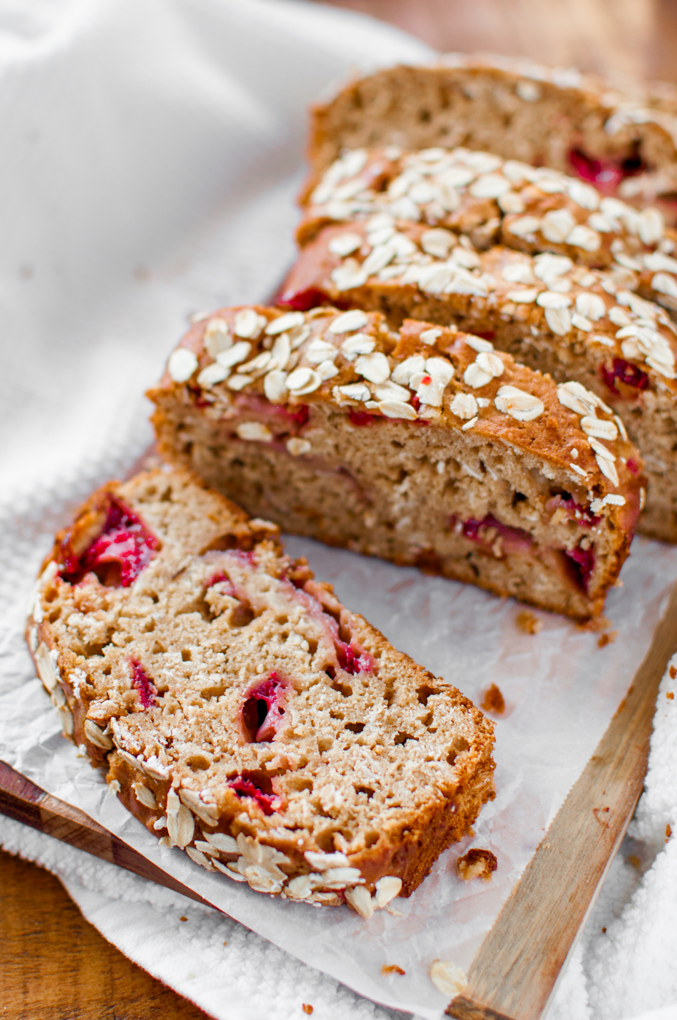 Strawberry Oat Bread- a healthy alternative that's perfectly sweet and made without any butter!