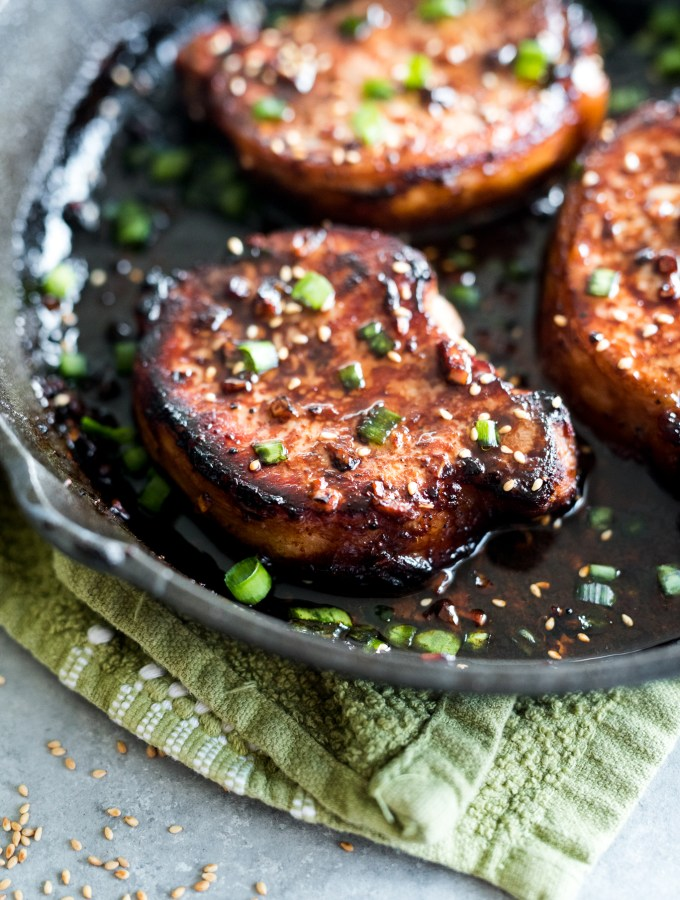 Asian Honey Pork Chops- the most delicious sweet and salty flavors! Easy enough for a weeknight and  something picky eaters will love!