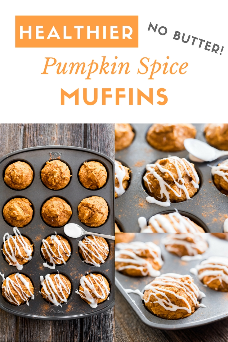 Healthier Pumpkin Spice Muffins- lighten-up your fall baking with these easy pumpkin spice muffins made with NO butter!