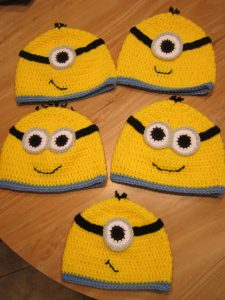 "More styles of crochet Despicable Me ""Minion"" hats that I have made"