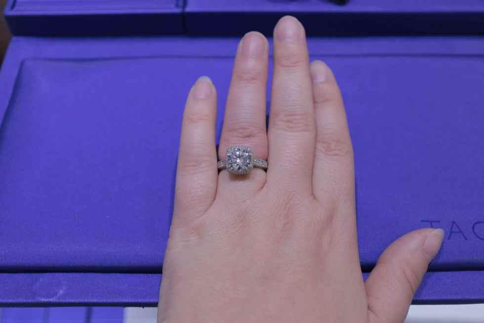 Tacori RoyalT Cushion Halo Milgrain Channel Set Engagement Ring