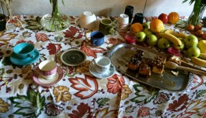 """This table was present in the dialogue room all weekend, and was always adorned with colorful cups, fruit, and table linens. I had to take a picture because my first thought upon seeing it was, """"This is what hospitality looks like."""""""