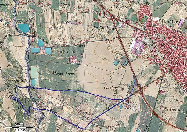 Plano de acceso desde Binéfar.