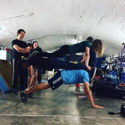 What did you do yesterday? squadgoals pushup EUAC teambonding fithellip