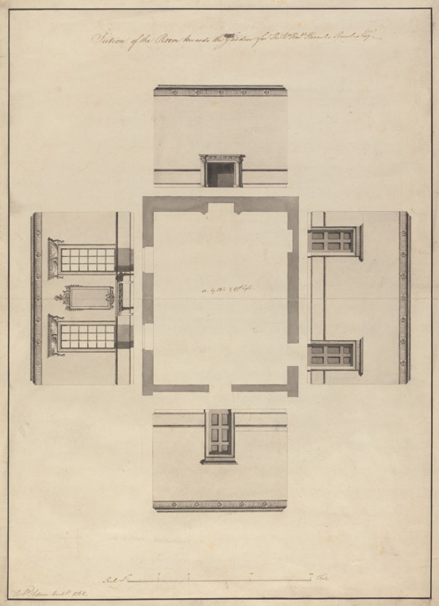 """Section of the Room towards the Garden for the Rt Honble Hercules Rowley Esqr."";"