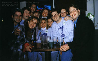 WPGU staff pose for the camera during the Shamrock Stagger Found in RS 41/8/805, 1996, p. 314