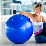 woman with stability ball