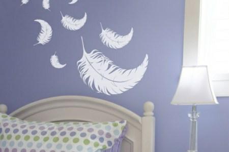 feder wanddekoration im schlafzimmer