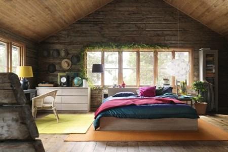 schlafzimmer mit wnden aus holz