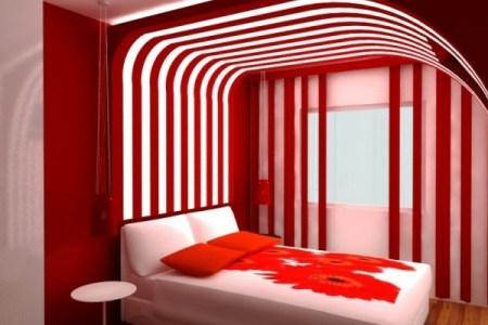 schlafzimmer dekorieren rote farbe