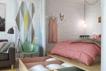 kleines schlafzimmer einrichten gro%c3%9fe h%c3%b6lzerne schubladen
