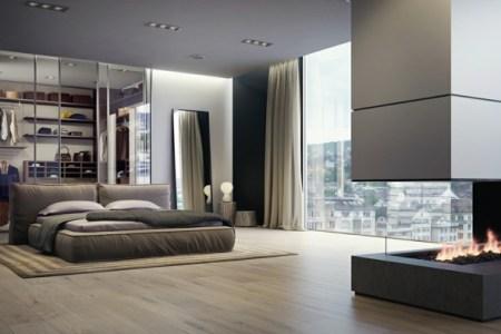 wohnung einrichten gro%c3%9fes schlafzimmer mit einem kamin