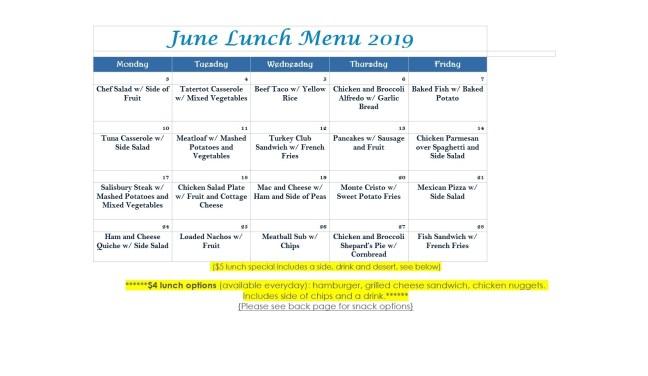June 2019 Menu