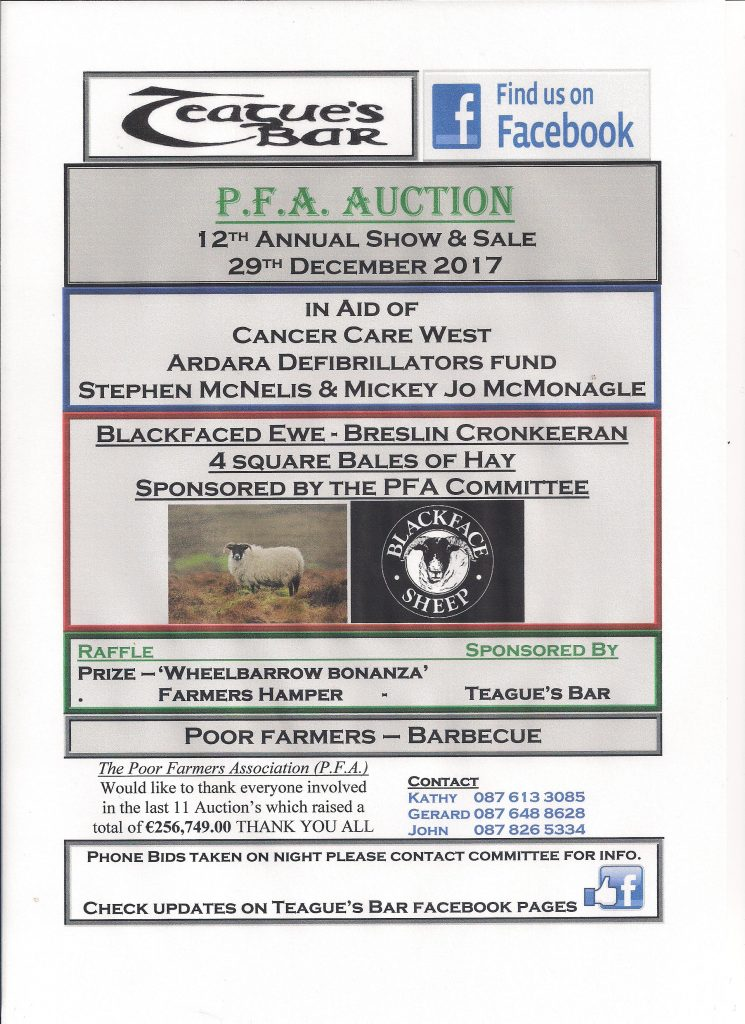 The Poor Farmers Auction: 29th December, 2017.