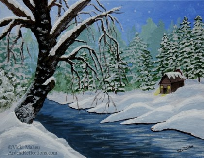 Here you can see the finished painting. A bare snow covered tree on the bank of a river at dusk in the middle of winter. On the other side of the bank, a quaint little cabin offers a cozy refuge from the cold. The first stars are just becoming visible in the darkening sky.