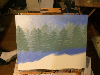 Creating some atmospheric perspective by having the trees start out very pale in the background, and become increasingly darker and more visible as they get closer.