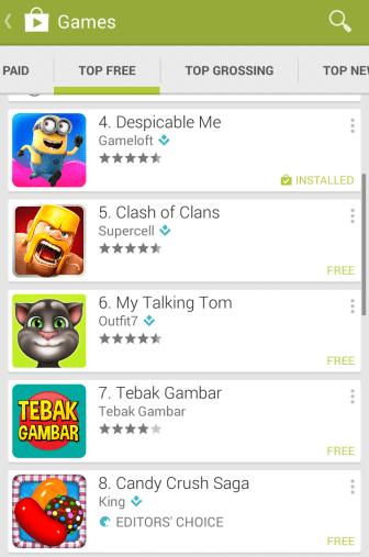 Tebak Gambar di posisi No. 7 Top Free Games Play Store