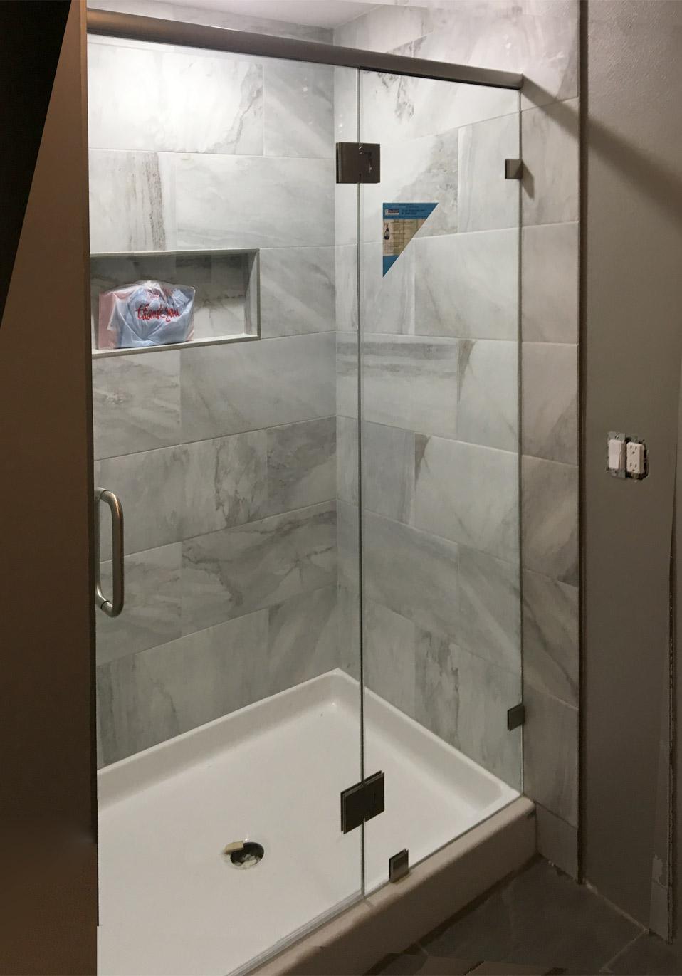 Antique Brushed Nickel Custom Shower Clearshield Shower Glass S Area Glass Wi Shower Glass Panel Mounting Brackets Shower Glass Panel Sizes houzz-03 Shower Glass Panel