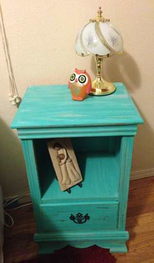 turquoise painted bedside table