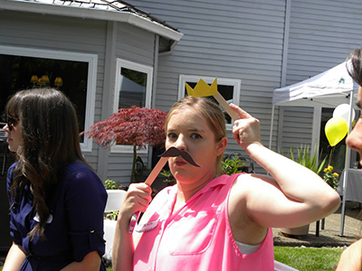 mustache and crown game at bridal shower