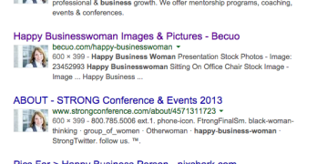 Google search for happy business woman